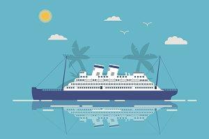 Landscape cruise liner flat