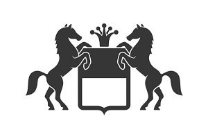 Vintage Heraldic Emblem with Horses