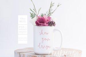 15oz Ceramic Mug Floral Mockup + PSD