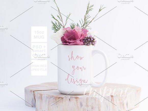 Download 15oz Ceramic Mug Floral Mockup + PSD