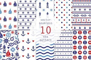 10 Nautical seamless pattern