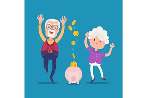 Senior people with golden piggy bank