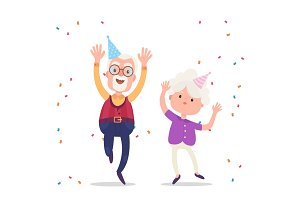 Happy grandparents celebrate the birthday party