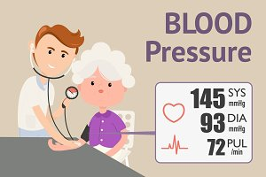Grandmother checking blood pressure