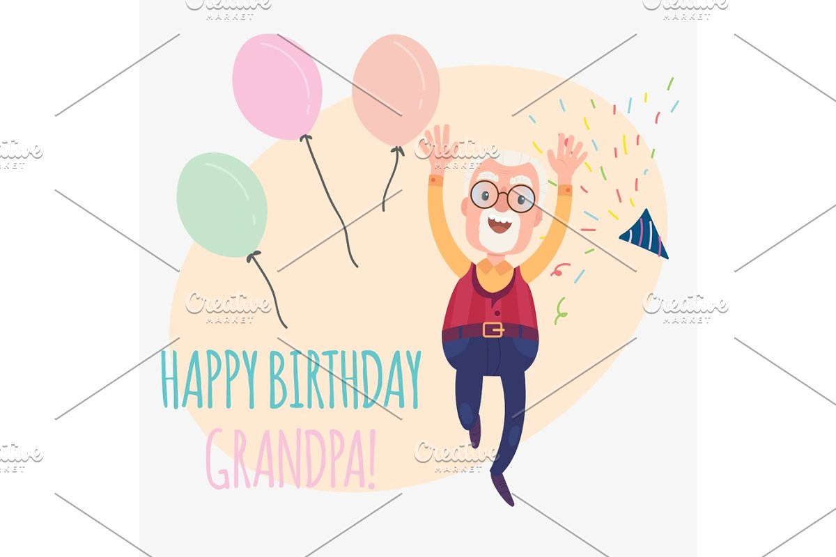 Happy Birthday Grandfather Illustrations Creative Market