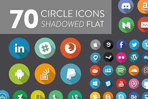 70 Flat Shadowed Social Media Icons