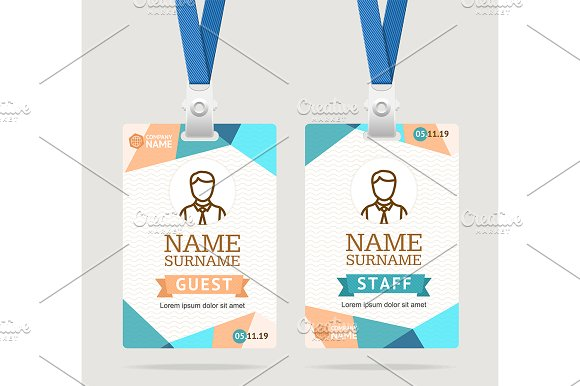 id card template plastic badge graphic objects creative market
