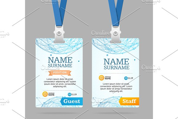 Id card template plastic badge objects creative market pronofoot35fo Gallery