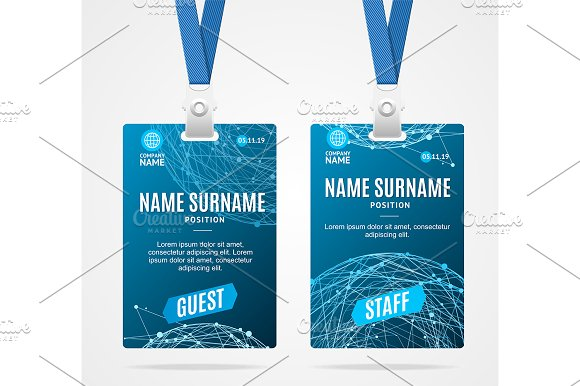Id Card Template Plastic Badge ~ Graphic Objects ~ Creative Market