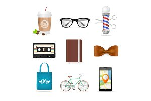 Realistic Hipster Style Icons