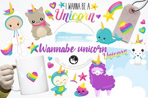 Wannabe unicorn illustration pack