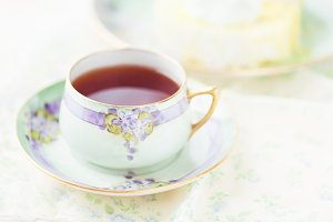 Red rooibos tea, antique tea cup