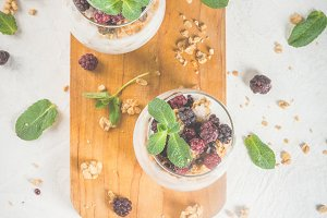 Breakfast with granola and berry