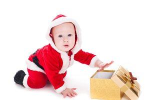 Santa boy with box