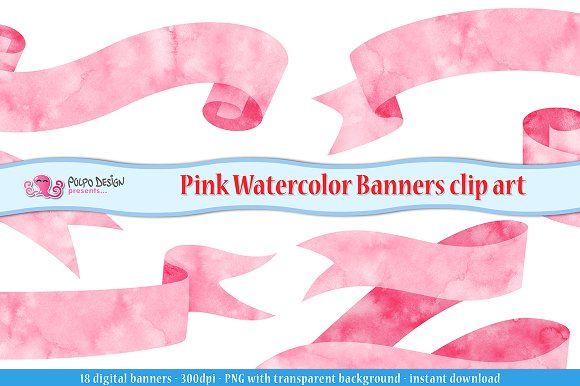 Pink Watercolor Banner Clipart