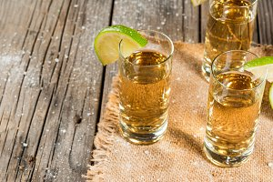 Golden tequila with lime