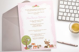 Woodland Baby shower pink invite