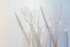 Transparent plastic cutlery