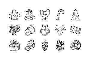 53 Christmas Hand-drawn Icons
