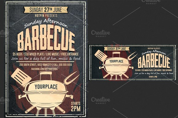 Barbecue Bbq Flyer Template Flyer Templates Creative Market