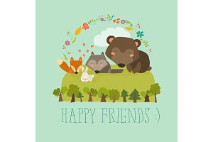 Happy friends in the forest. Bear,fox,rabbit wolf