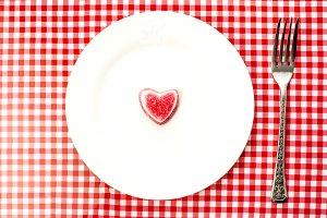 The heart shaped dessert