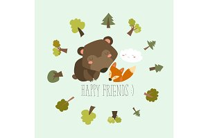 Happy friends in the forest. Bear,fox