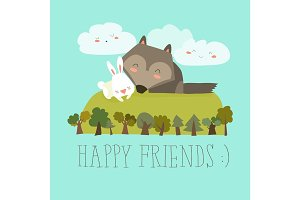Happy friends in the forest. Wolf,rabbit