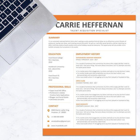 resume cv orange stationery templates creative market
