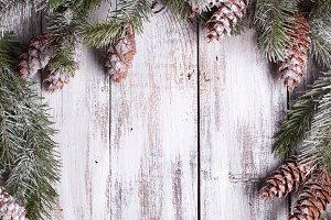 White shabby Christmas border