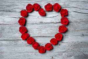 Red roses in shape of heart