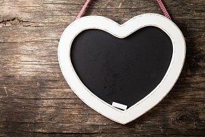 The heart shape chalkboard