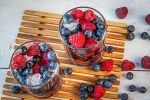 Fresh berries and ice