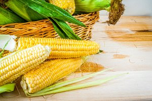 Fresh corn with leaves