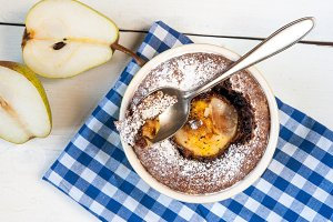 Chocolate desserts with pear