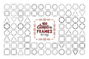 100 Thin line geometric frames