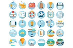 Icons set of traveling and planning