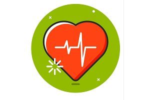 Heart pulse icon vector