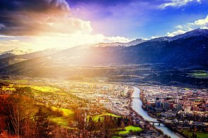 Innsbruck at sunset from the top