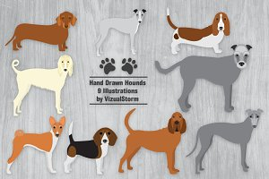 Hound Dog Clip Art Illustrations