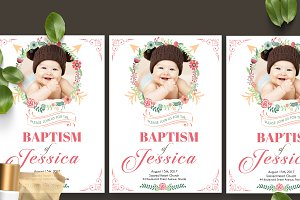 Florist Baptism Card Template