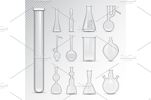 Chemical Laboratory 3D Lab Flask Glassware Tube Liquid Biotechnology Analysis And Medical Scientific Equipment Vector Illustration