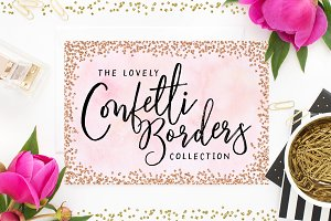 Confetti Rose Gold Borders & Frames