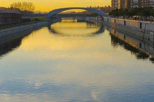 River manzanares sunrise, Madrid