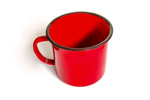 Mug painted in red