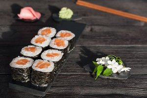 Sushi and flower
