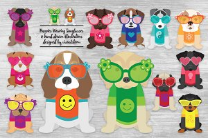 Summer Puppies Wearing Sunglasses