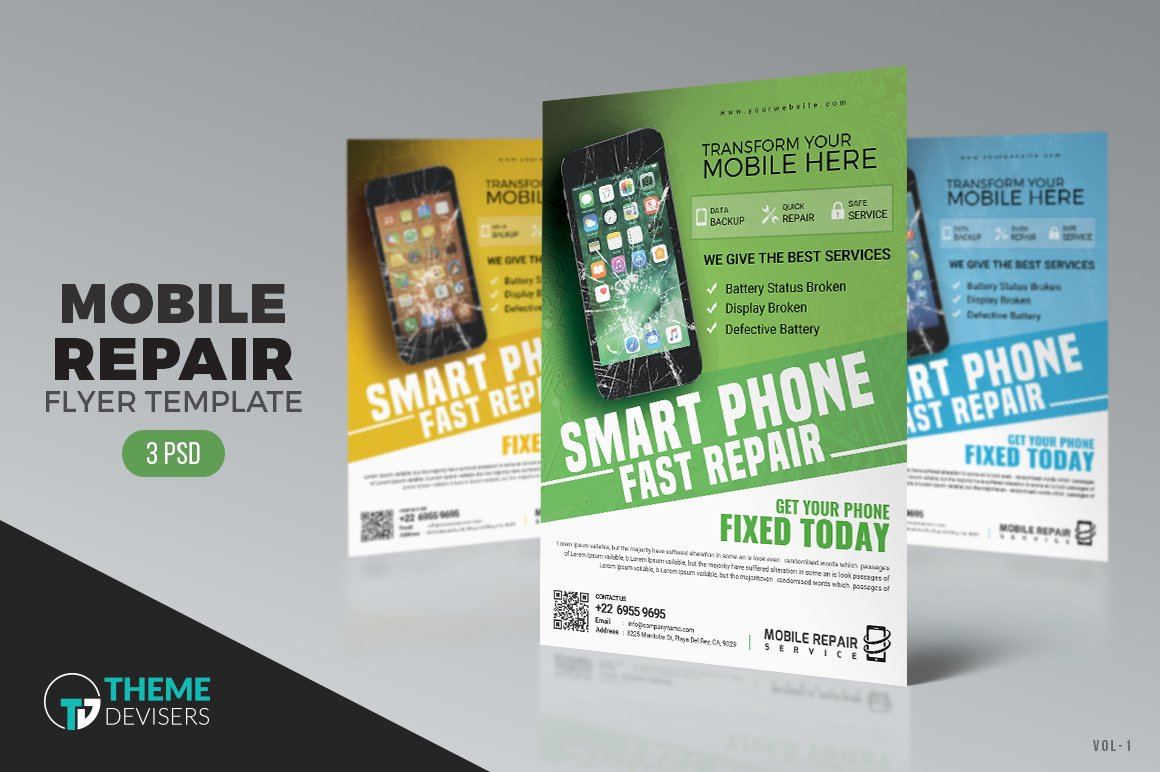 Smartphone Repair Flyer Flyer Templates Creative Market