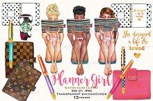 planner girl clipart