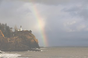 Rainbow Over Lighthouse Fade